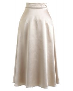 Basic Satin A-Line Midi Skirt in Gold