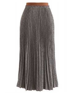 Full Plaid Pleated Midi Skirt in Brown