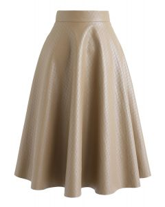 Faux Leather Diamond Quilted Midi Skirt in Taupe