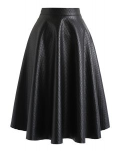 Faux Leather Diamond Quilted Midi Skirt in Black