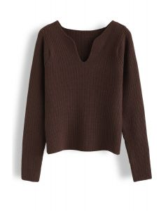 V-Neck Ribbed Knit Sweater in Brown