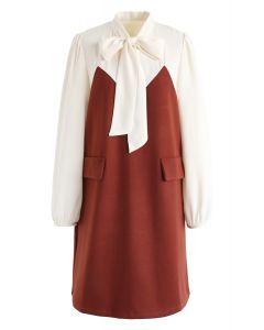 Bicolor Bowknot Neck Dress