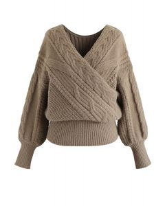 Fluffy Braid Texture Wrap Knit Sweater in Taupe