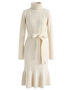 Turtleneck Braid Frilling Knit Dress in Cream