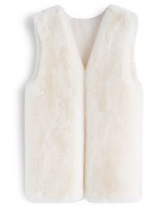 Cream Mid-Length Faux Fur Vest