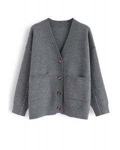 Pocket V-Neck Buttoned Knit Cardigan in Grey