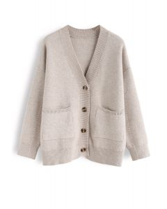 Pocket V-Neck Buttoned Knit Cardigan in Sand