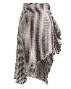 Houndstooth Raw Edge Asymmetric Skirt