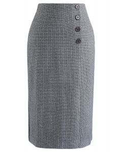 Plaid Button Split Pencil Midi Skirt in Grey