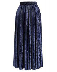 Shiny Velvet Pleated Midi Skirt in Smoky Blue
