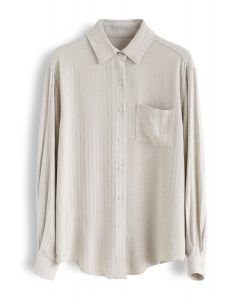 Pocket Button Down Sleeves Shirt in Sand