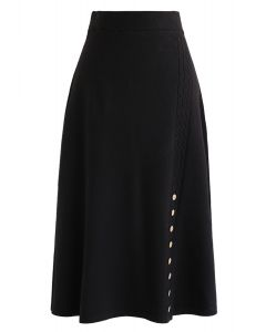 Braid Button Trim A-Line Knit Skirt in Black