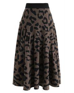 Leopard Asymmetric Frilling Knit Midi Skirt in Brown