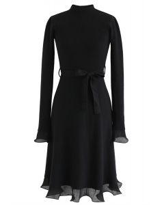Bell Cuffs Mock Neck Knit Midi Dress in Black