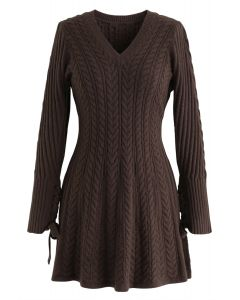 Lace Up Cable Knit Skater Dress in Brown