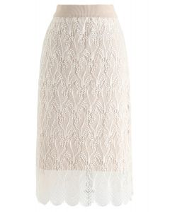 Reversible Lace hem Knit Skirt in Cream