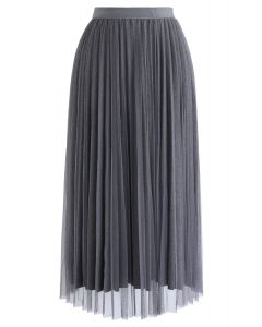 Shimmer Lining Mesh Tulle Pleated Skirt in Grey