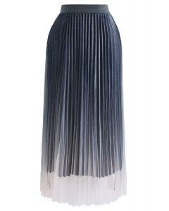 Shimmer Gradient Mesh Tulle Pleated Skirt in Blue