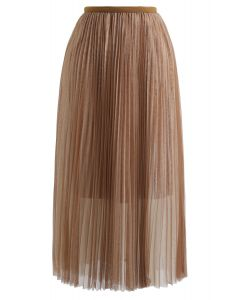 Double-Layered Mesh Tulle Pleated Skirt in Caramel