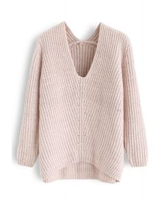 Glitters Rib Knit V-Neck Sweater in Pink