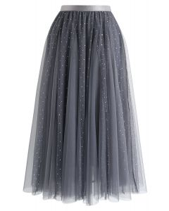 Sequined Double-Layered Mesh Tulle Midi Skirt in Grey
