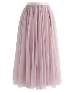 Sequined Double-Layered Mesh Tulle Midi Skirt in Pink