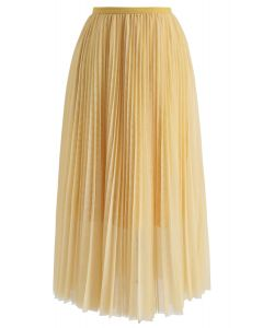 Double-Layered Mesh Tulle Pleated Skirt in Yellow