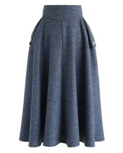 Classic Simplicity A-Line Midi Skirt in Dusty Blue