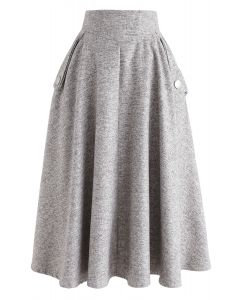 Classic Simplicity A-Line Midi Skirt in Sand