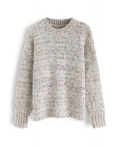 Round Neck Loose Knit Sweater in Ivory