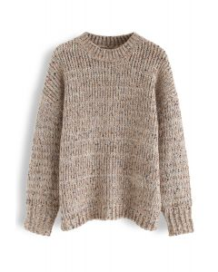 Round Neck Loose Knit Sweater in Tan