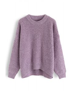 Wavy Round Neck Fuzzy Loose Knit Sweater in Violet