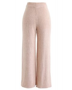 High-Waisted Wide-Leg Knit Pants in Blush