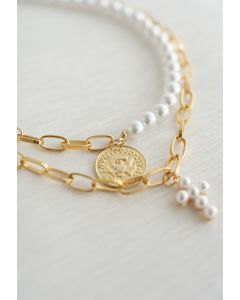 Gold Coin Layered Pearl Chain Necklace