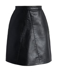 Fetching Faux Leather Skirt in Black