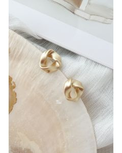 Twist Golden Stud Earrings
