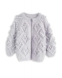 Knit Your Love Cardigan in Lavender For Kids