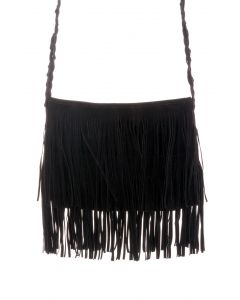 Black Fringe Knit Strap Shoulder Bag