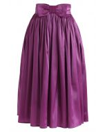 Bowknot Waist Pleated Midi Skirt in Violet