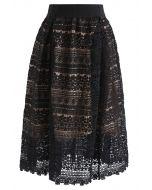 Floral Crochet Midi Skirt in Black