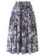 Leaves Print Ruffle Pleated Midi Skirt