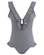 Stripe Print Ruffle Plunging Neck One-Piece Swimsuit