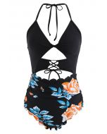 Twist Bust Lace-Up Scalloped Floral One-Piece Swimsuit