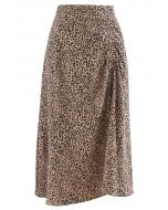 Animal Print Side Ruched Midi Skirt in Caramel