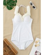 Mesh Flower Straps Halter One-Piece Swimsuit in White