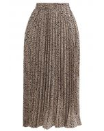 Animal Print Pleated Midi Skirt in Tan