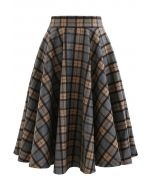 Plaid Pattern A-Line Wool-Blended Skirt