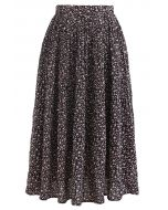 Ditsy Floret Pleated Chiffon Skirt in Black