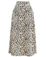 Tumbling Flowers Printed A-Line Midi Skirt in Light Yellow