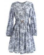 Blue Floral Printed Belted Dress